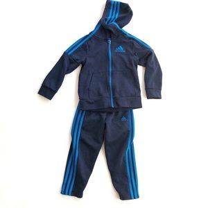 Adidas Boys Tracksuit Navy Striped Hooded 5